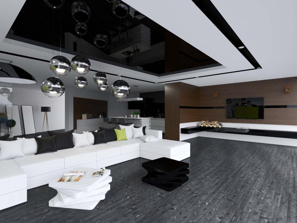 Duża wygodna kanapa i okrągłe wiszące lampy ozdabiające przestrzeń salonu wypoczynkowego