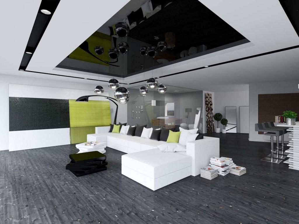 Fakturowany graficzny obraz i designerska lampa wkomponowana w nowoczesną przestrzeń salonu