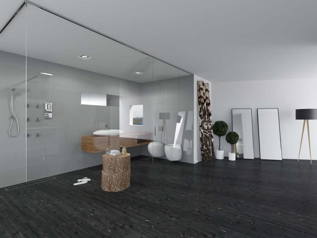 Duża przeszklona łazienka