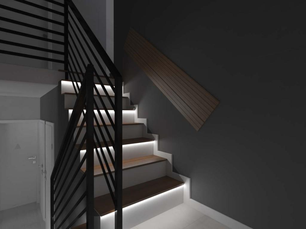 Podświetlane schody na klatce schodowej