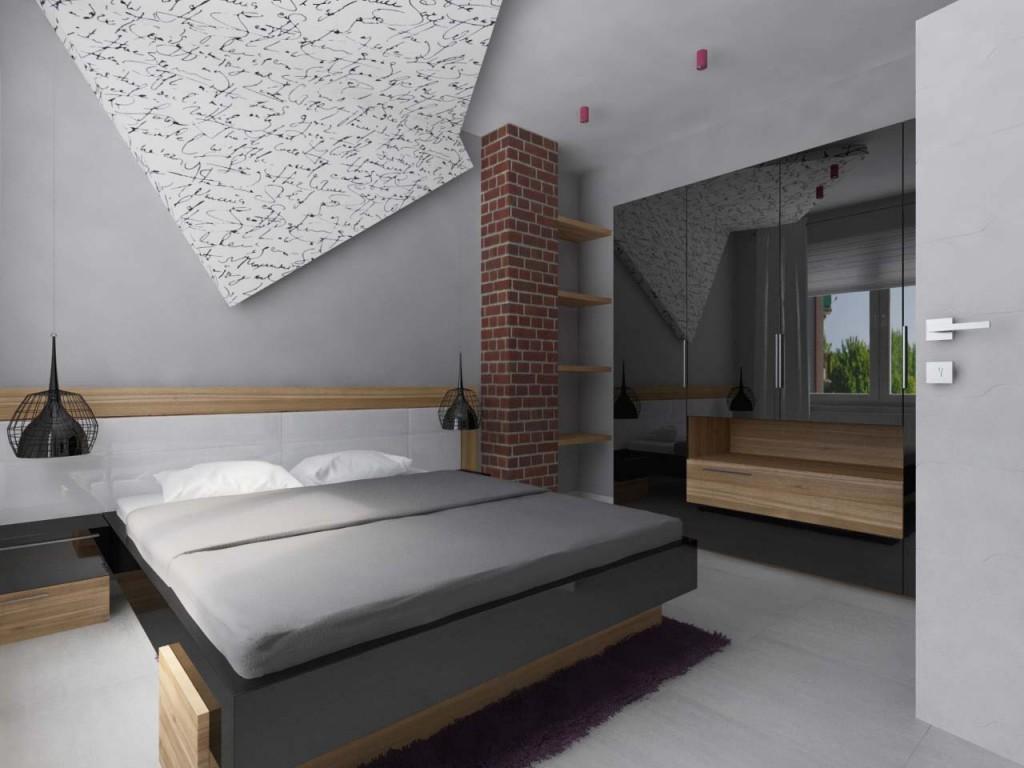 Nowoczesna sypialnia z podwieszanym sufitem inspirowanym zgiętą kartką papieru