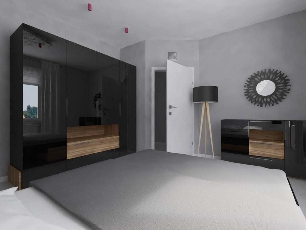 Spokojna sypialnia z czarną lakierowaną szafą, stojącą lampką oraz okragłym lustrem