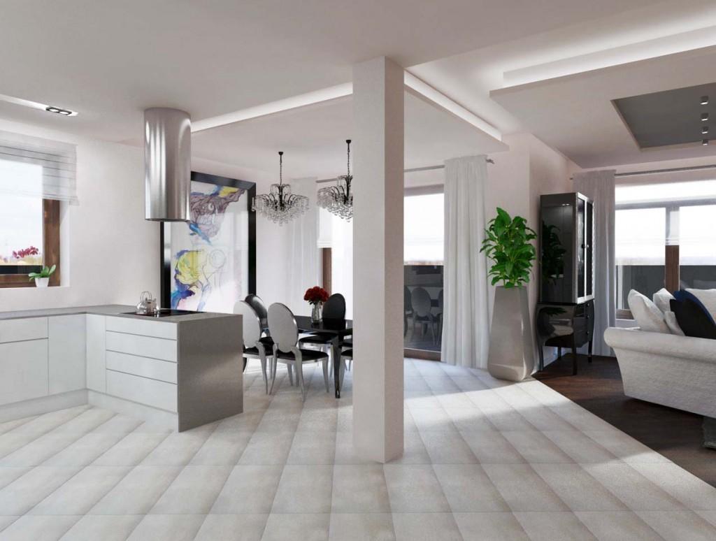 Widok na ekskluzywną jadalnię połączoną z salonem i kuchnią