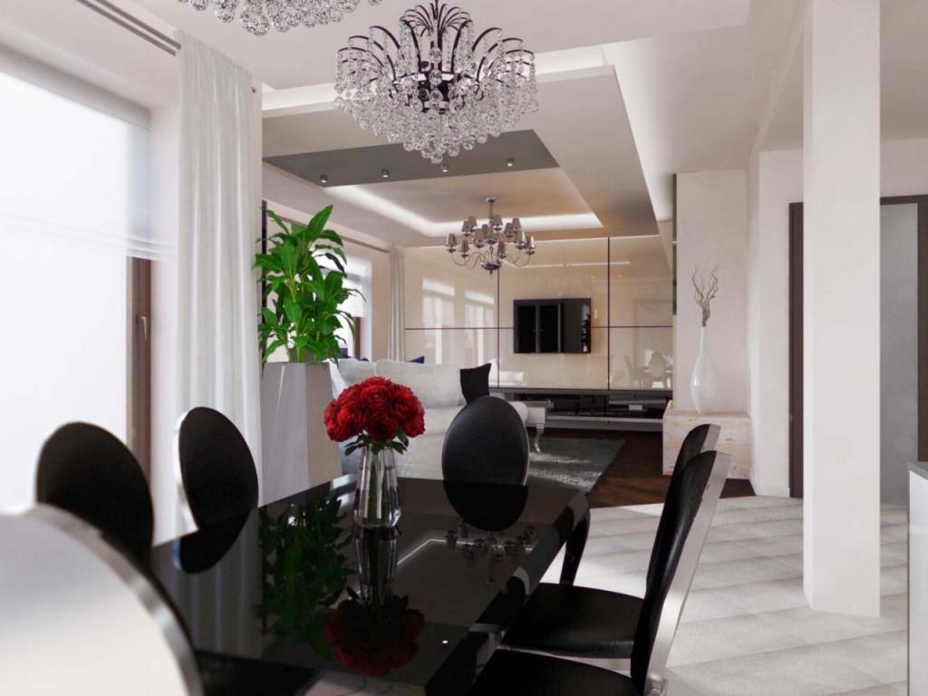 Czarny lakierowany stylowy stół jadalniany