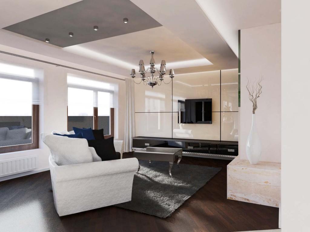 Kontrastujący nowoczesny salon z stylowymi dodatkami