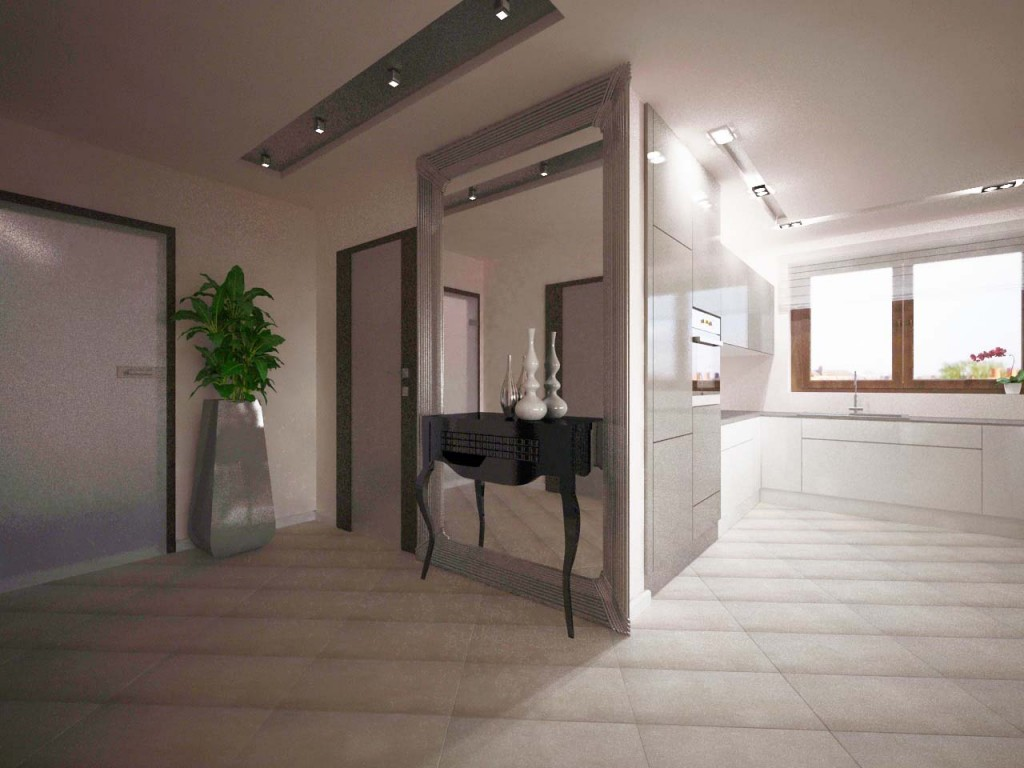 Ogromne lustro i piękna konsola umiejscowiona w korytarzu