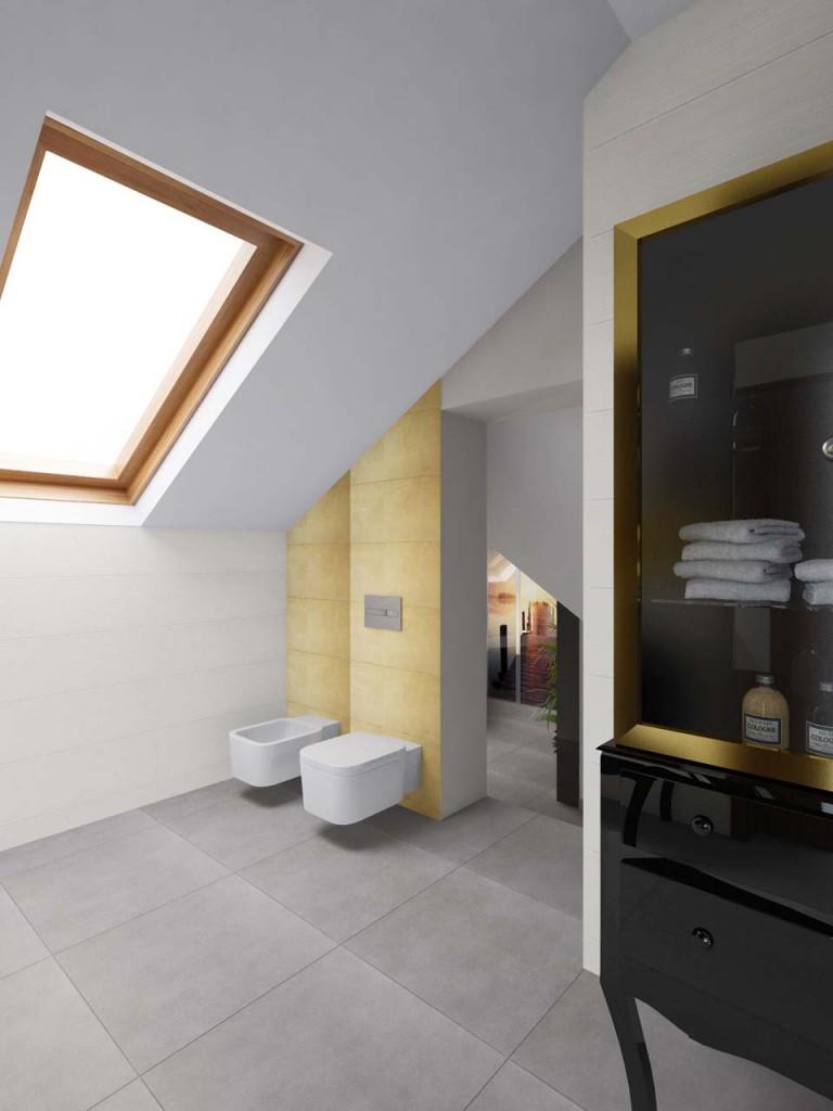 Biało - złota łazienka z czarną lakierowaną komodą