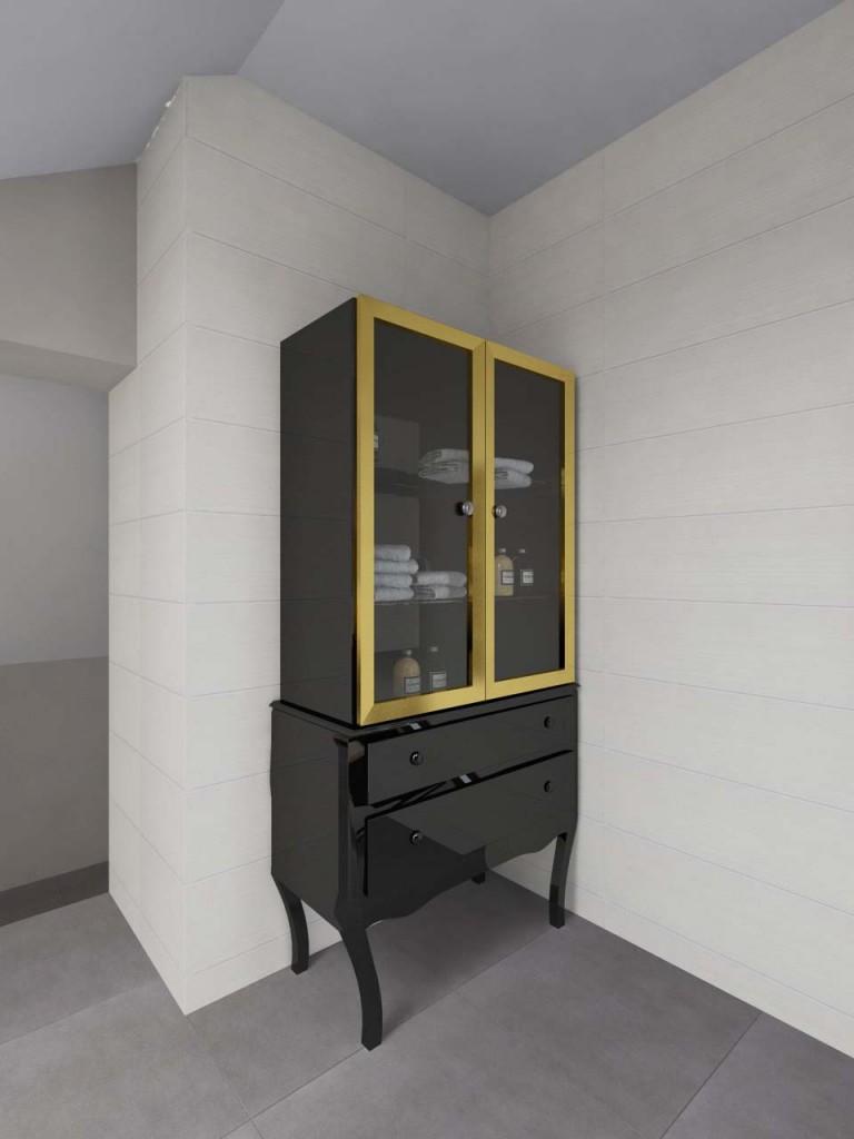 Czarna lakierowana komoda ze złotą obwódką umiescowiona w przestronnej łazience