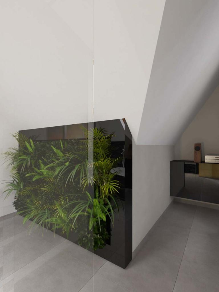 Zielona ściana na ścianie strefy kąpielowej w łazience