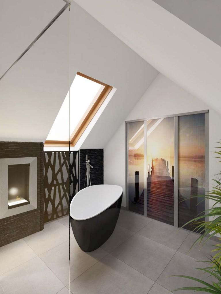 Wanna wolnostojąca jako centralny punkt strefy relaksu w łazience