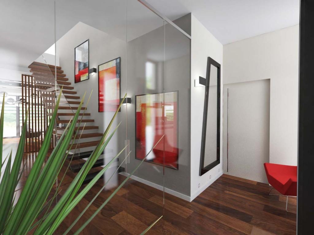 Przeszklony wiatrołap wraz z widokiem na drewniane schody prowadzone do głównych sypialni