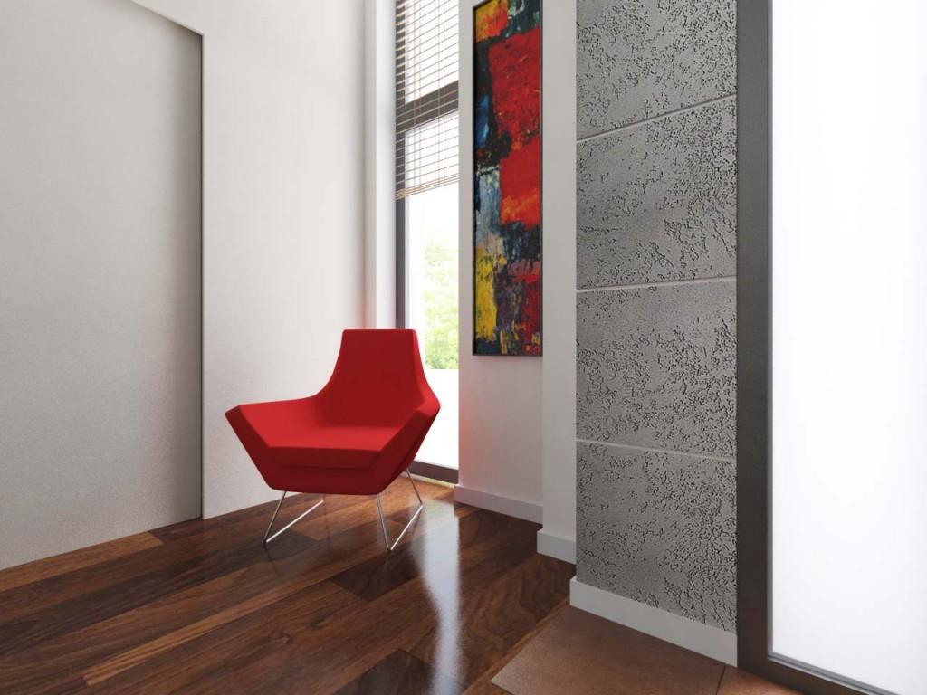Designerski fotel umiejscowiony w wiatrołapie