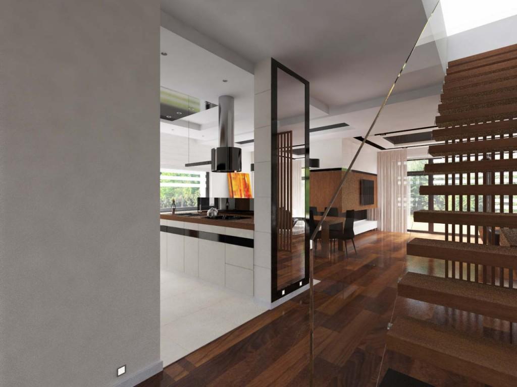 Szklana balustrada oraz widok na dużą kuchnię, jadalnię i salon