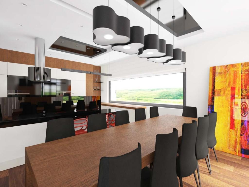 Długi drewniany stół ustawiony w jadalni połączony z designerskimi lampami