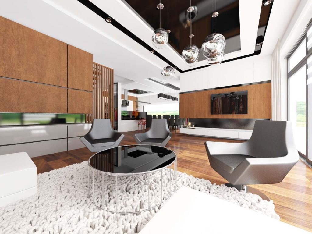 Duża przestrzeń salonu zaaranżawana w ciepłych odcienaich drewna oraz nowoczesnymi meblami