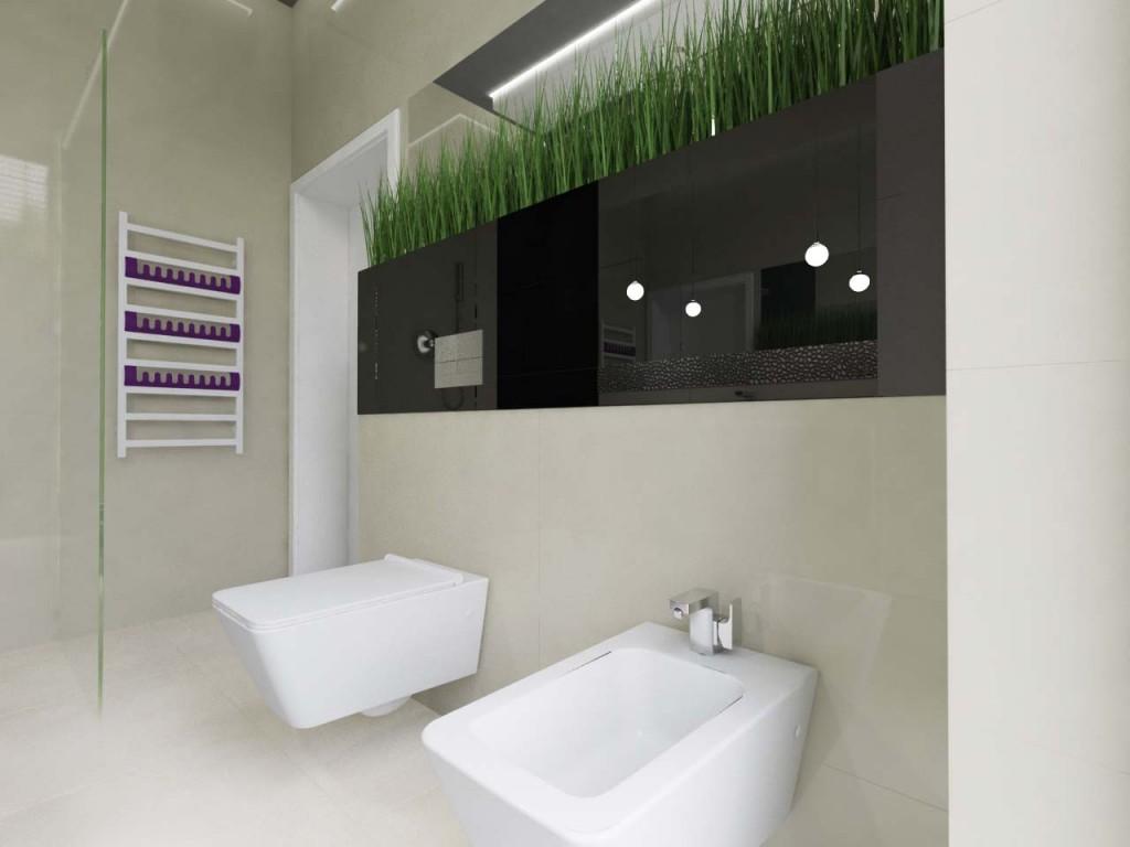 Łazienka z rosnącą ozdobną trawą w donicach