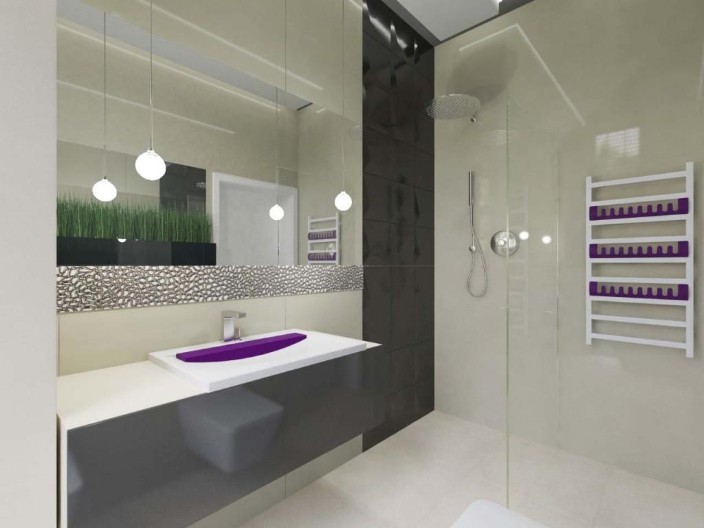 Biało - fioletowe dodatki w jasnej łazience