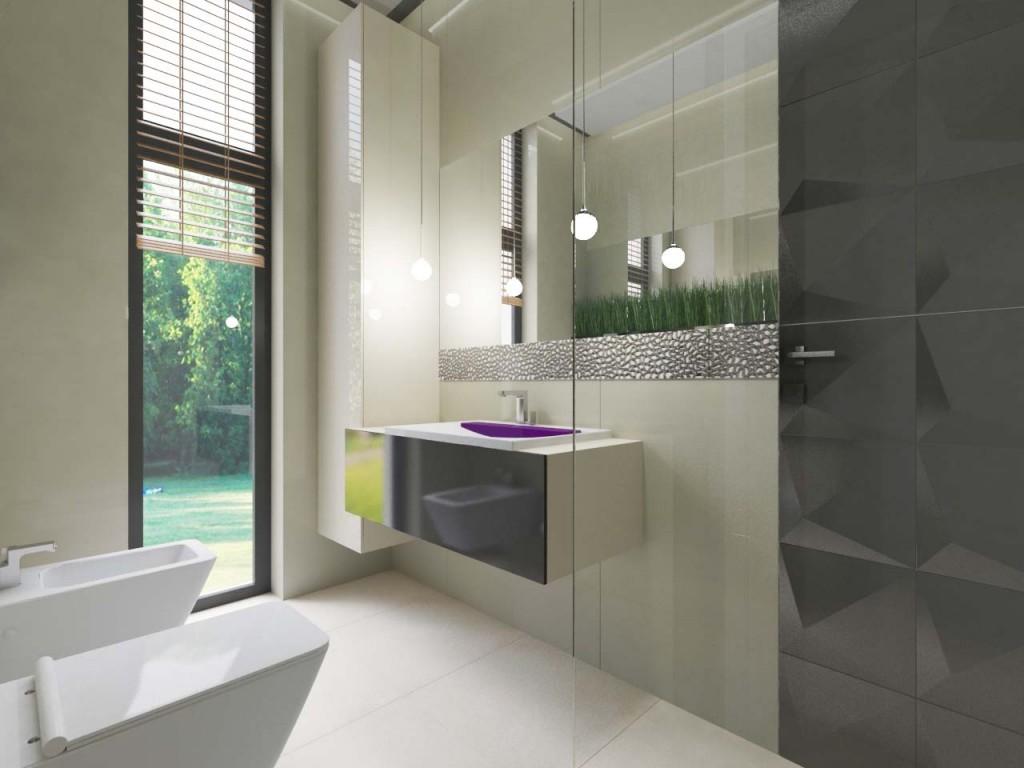 Jasna łazienka z dużym przestronnym oknem