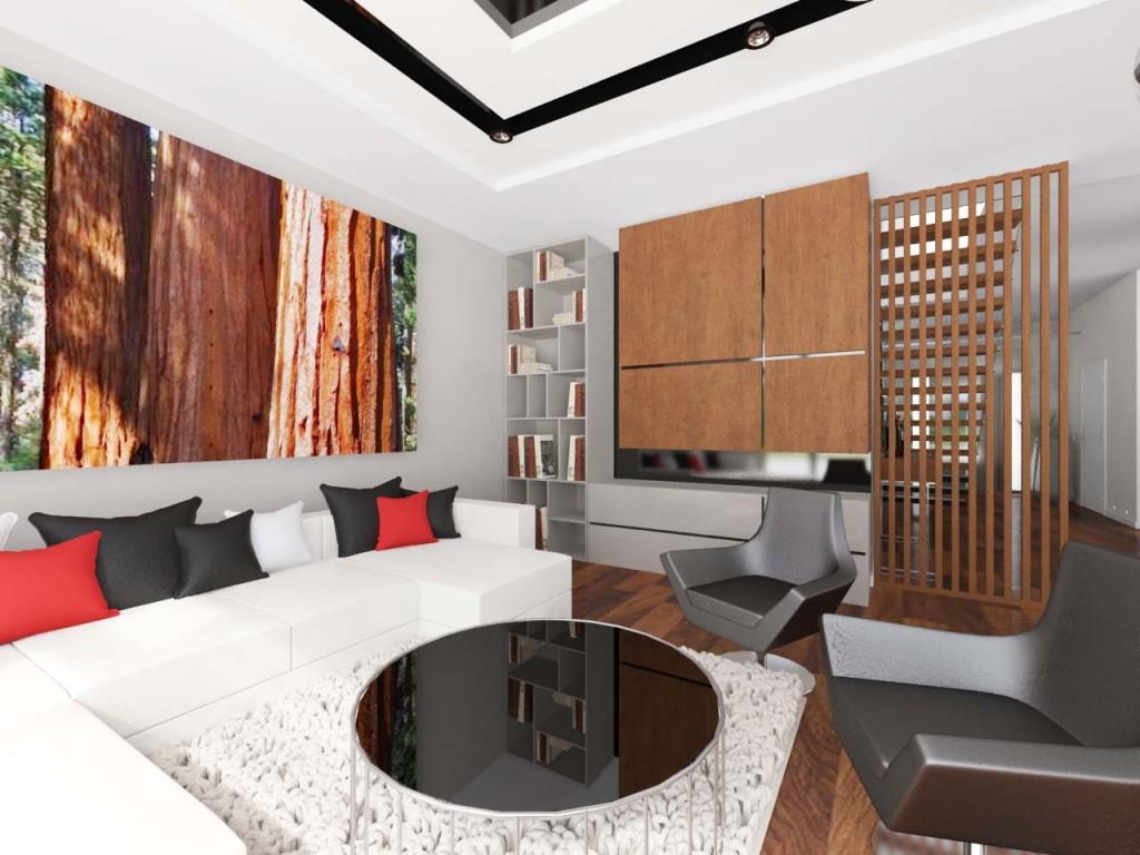 Drewniane akcenty w dużym nowoczesnym salonie z nowoczesnymi dodatkami