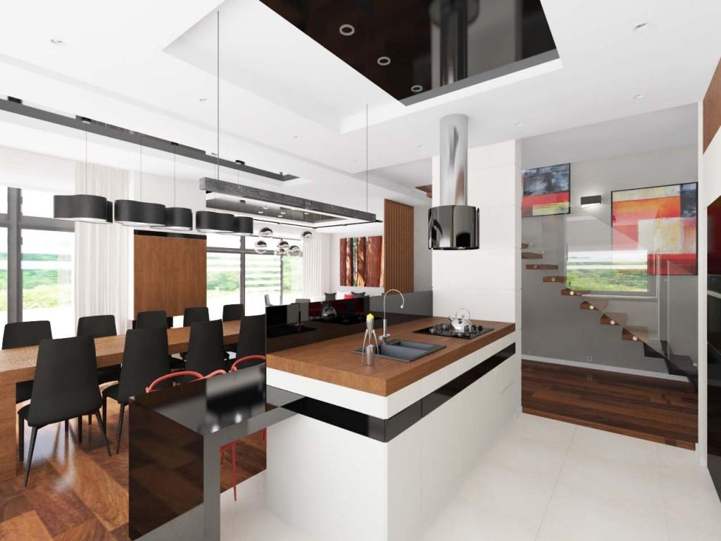 Widok na dużą wyspę kuchenną oraz aranżację jadalni i salonu wkomponowaną w całość pomieszczeń