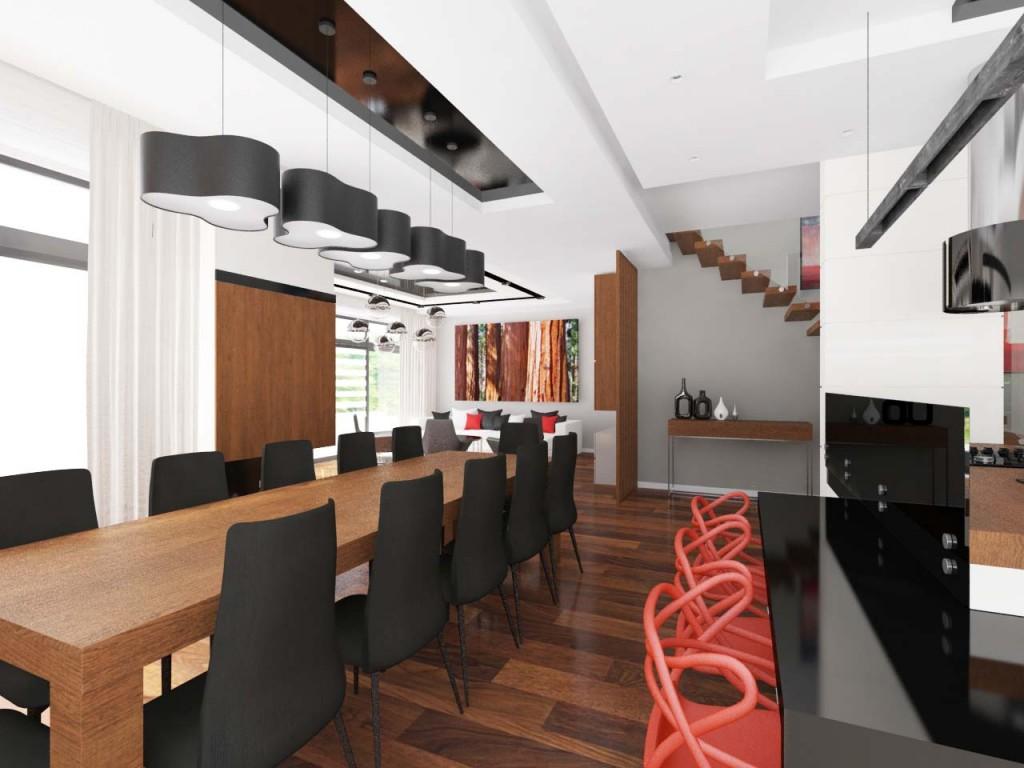 Długi drewniany stół ustawiony w jadalni połączony z czarnymi lampami i czarnymi krzesłami