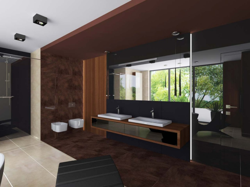 Ciekawie zaaranżowana przestrzeń łazienki z dwiema umywalkami