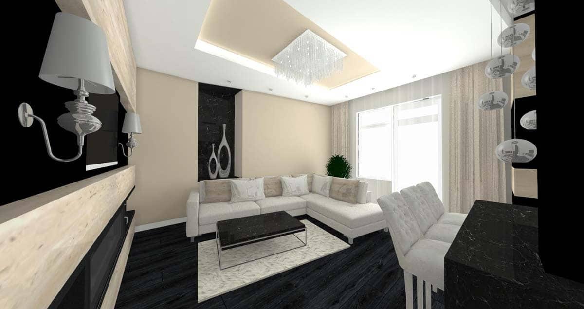 Jasna przestrzeń salonu z kontastową podłogą.