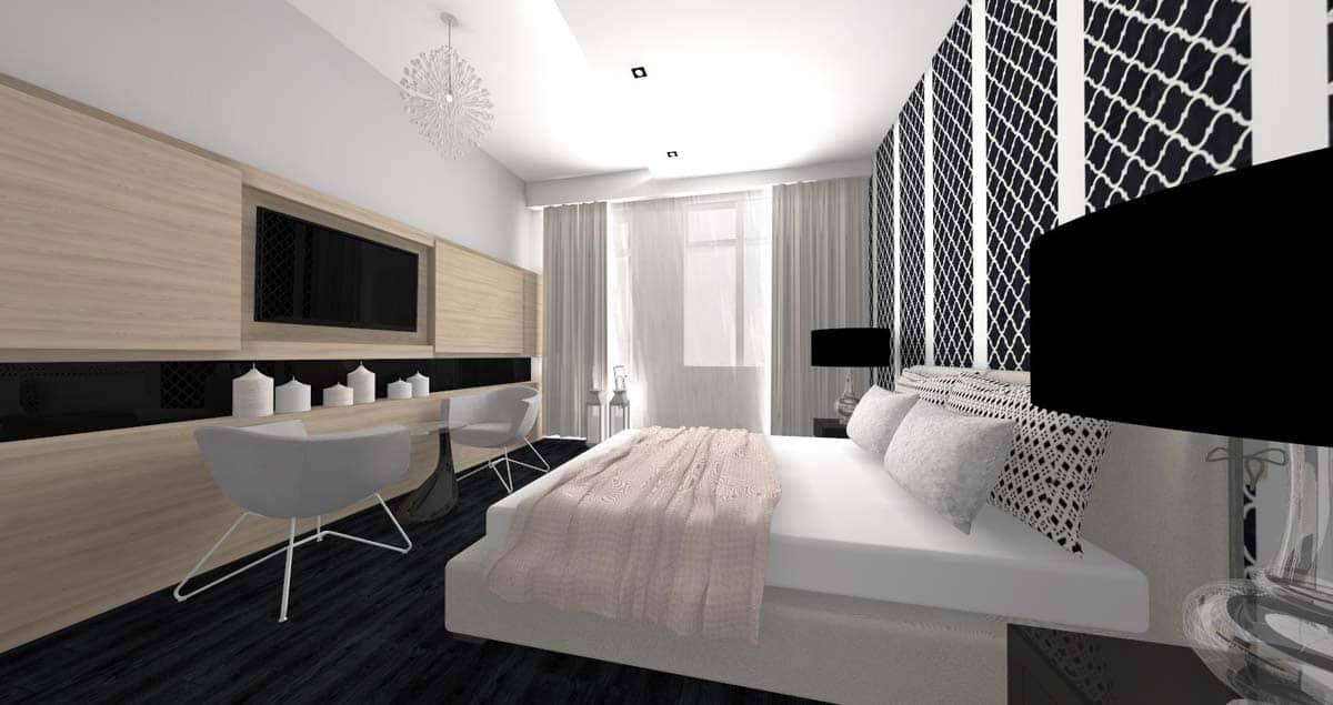Wnętrze sypialni z meblami włoskimi.