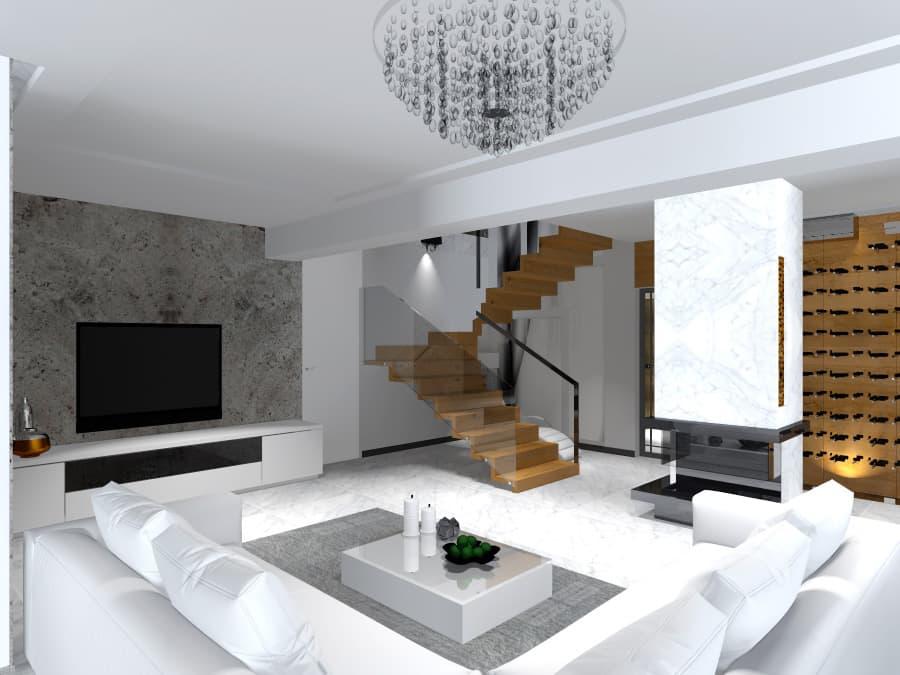 Projekt wnętrza salonu i stylowe meble
