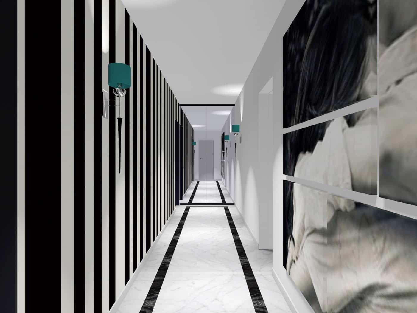 Długi korytarz w designerskim stylu. Meble włoskie, Bydgoszcz.