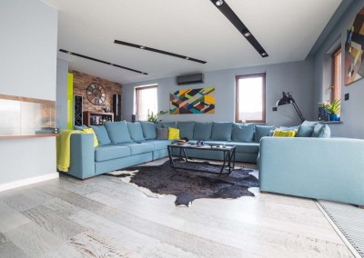 Stolik, ogromna sofa i inne meble oraz elementy